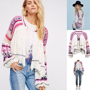 Free People Dreamland Embroidered Knit Cardigan